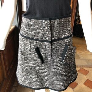 Chanel tweed logo button front skirt